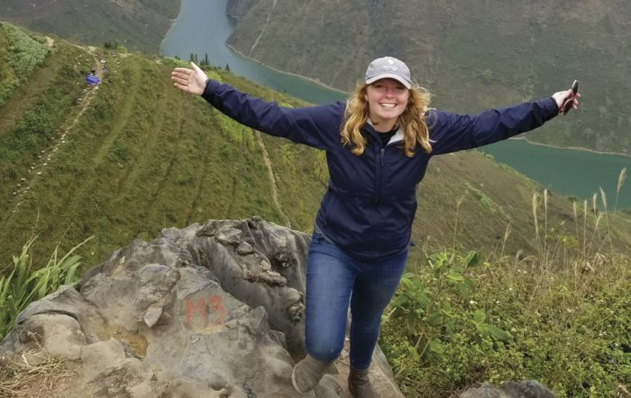 Caitlin Mahan '12 on a mountain top