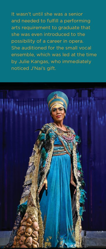 J'Nai Bridges in her Metropolitan Opera debut as Nefertiti in Philip Glass's Akhnaten. Photo by Karen Almond.