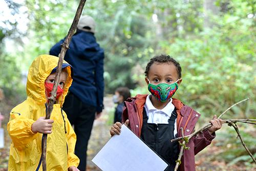 Preschool students in outdoor classroom